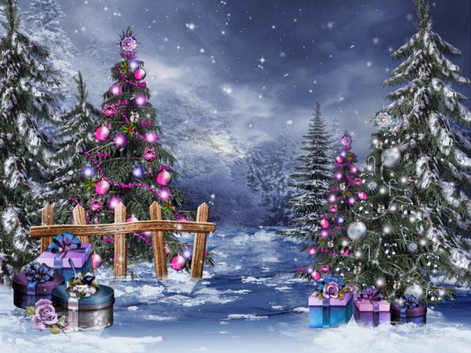 Christmas magic tree winter snow gifts boxes beads balls toys wallpaper