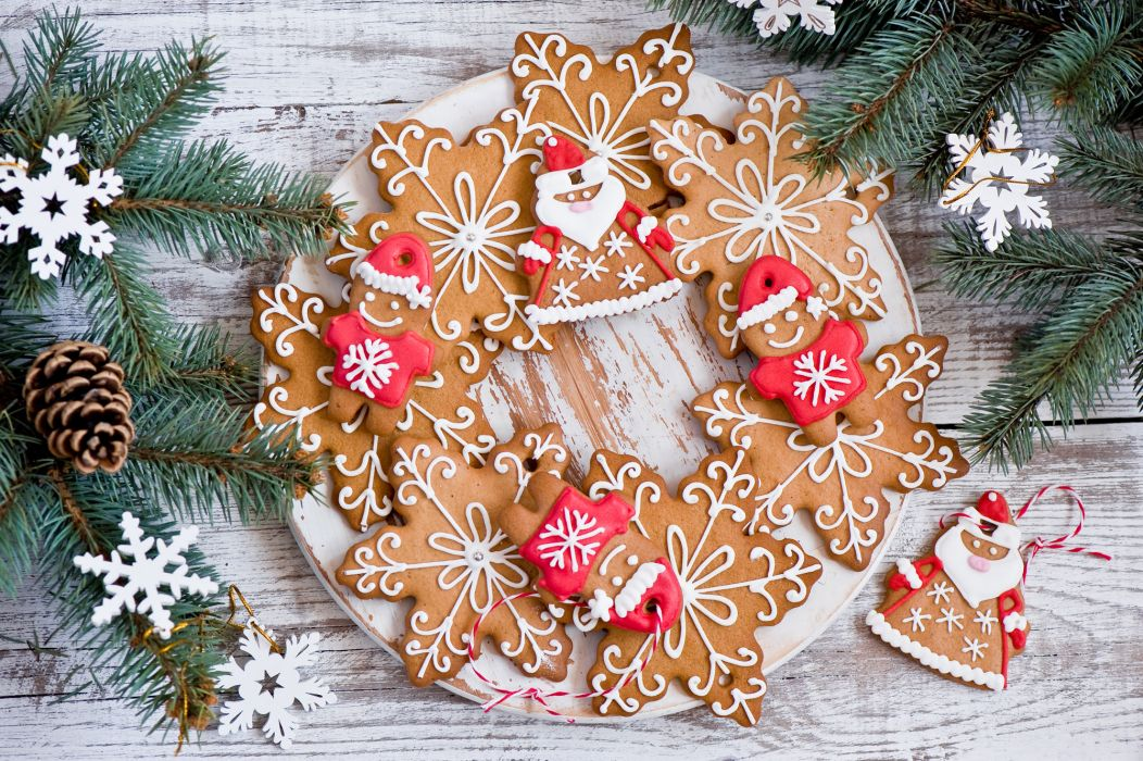 cookies twigs pine cone wallpaper