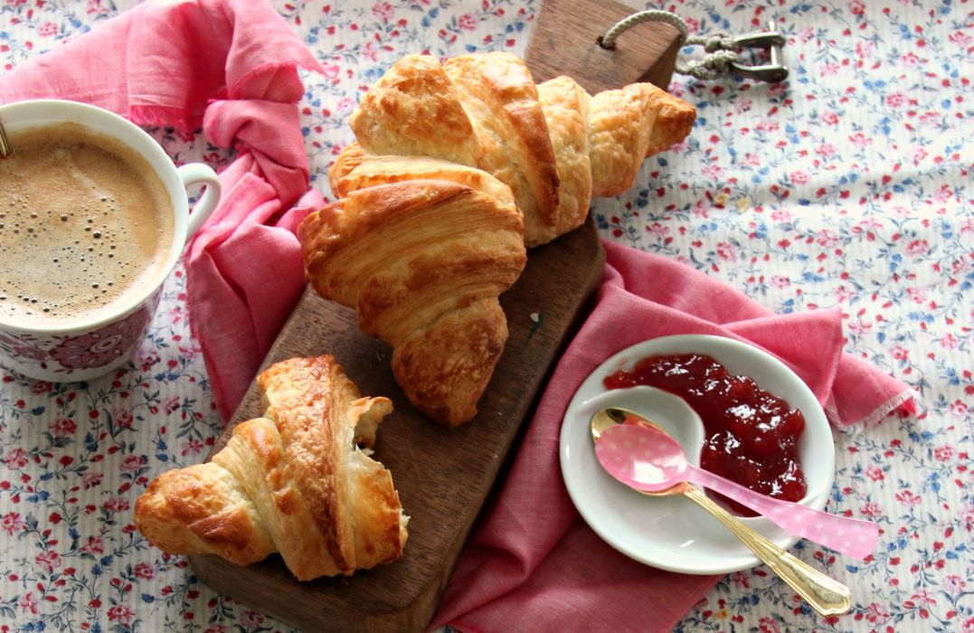 cup of coffee breakfast croissant food wallpaper
