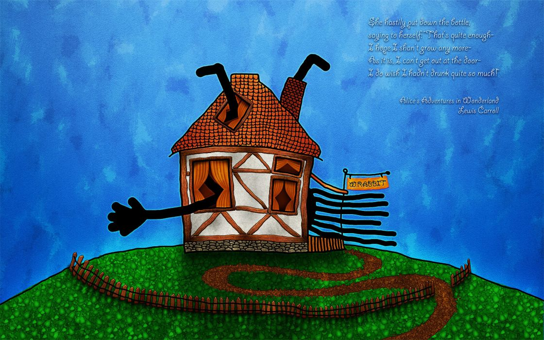 Drawing Hands Fence House Wonderland Alice Poster Wallpaper