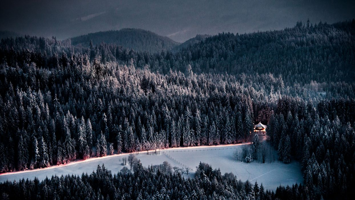 evening winter house road forest mountains wallpaper