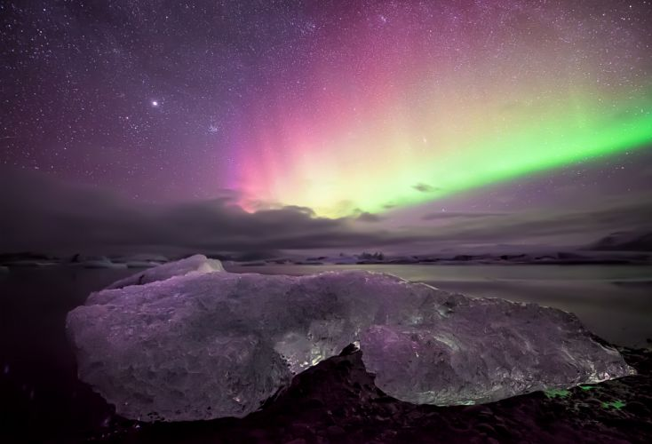 floe sky the aurora borealis stars wallpaper
