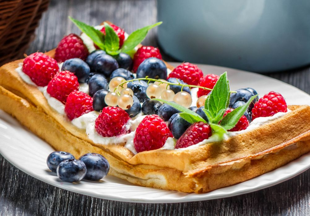 food waffles dessert fruits waffles raspberries cream wallpaper