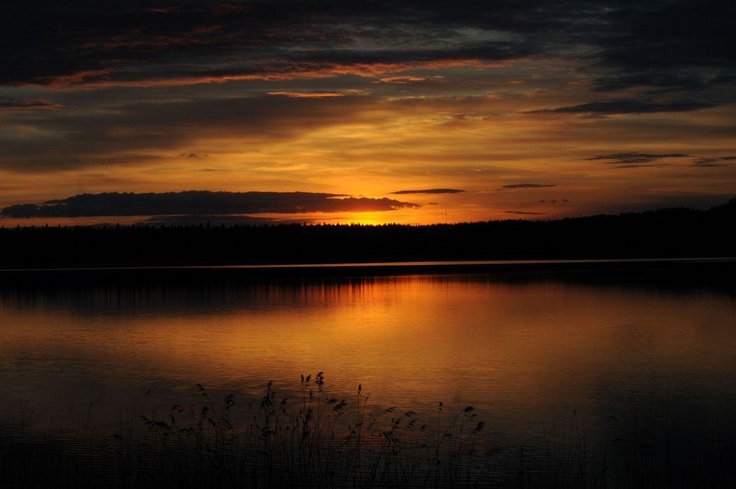 forest lake dusk sunset wallpaper