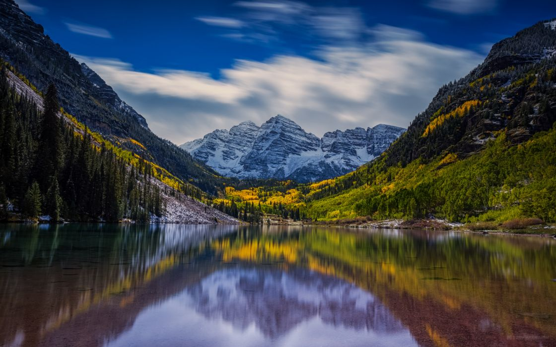 forest mountains reflection lake wallpaper