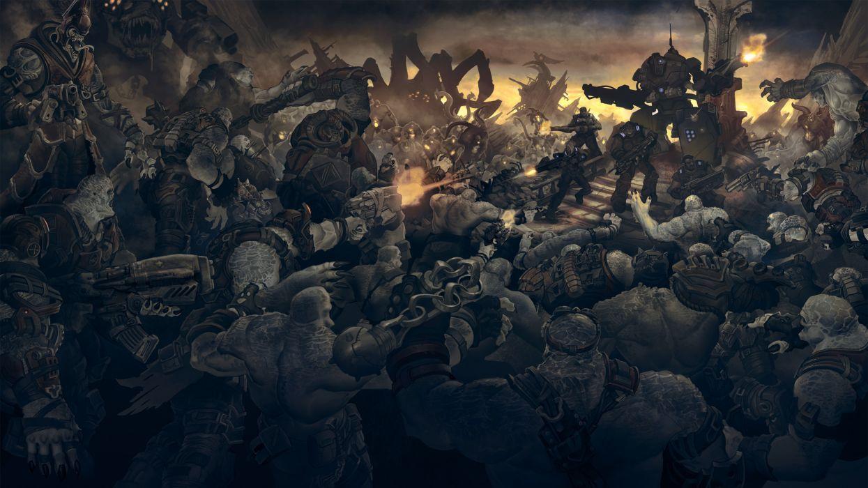gears of war soldiers monsters sci-fi battle mecha robot wallpaper