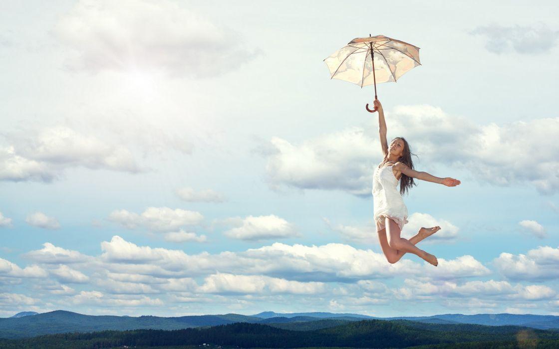 girl umbrella flight wallpaper