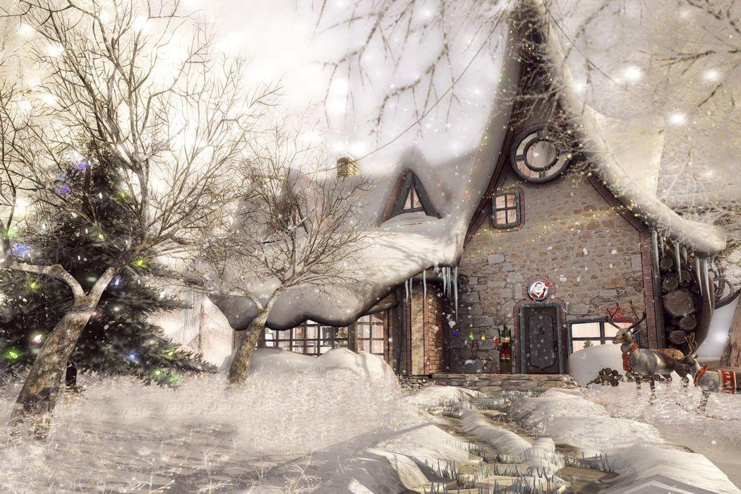 house snow reindeer trees wallpaper