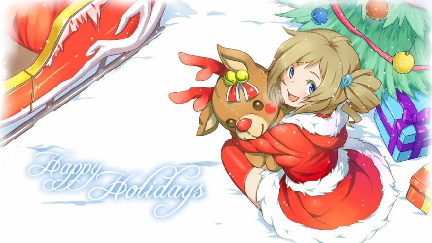 internet explorer original aizawa inori bell blue eyes brown hair christmas ponytail santa costume snow teddy bear thighhighs tree waha (artist) zettai ryouiki wallpaper