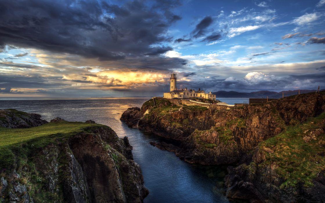 ireland seascape lighthouse ocean wallpaper