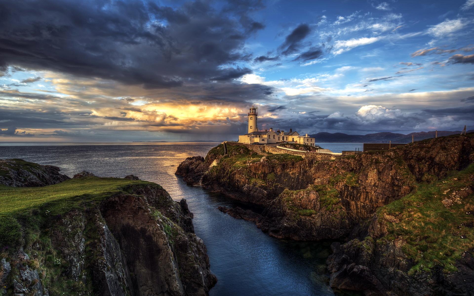 Ireland Seascape Lighthouse Ocean Wallpaper  1920x1200 210379