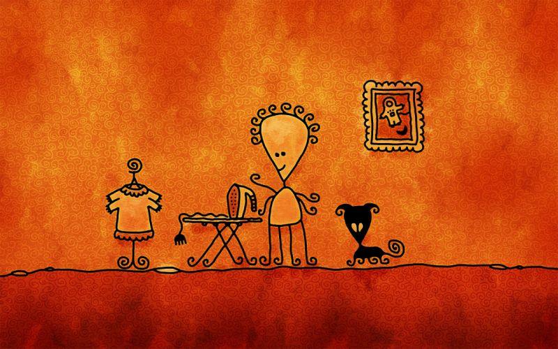 ironing drawing chelovechik cat wallpaper