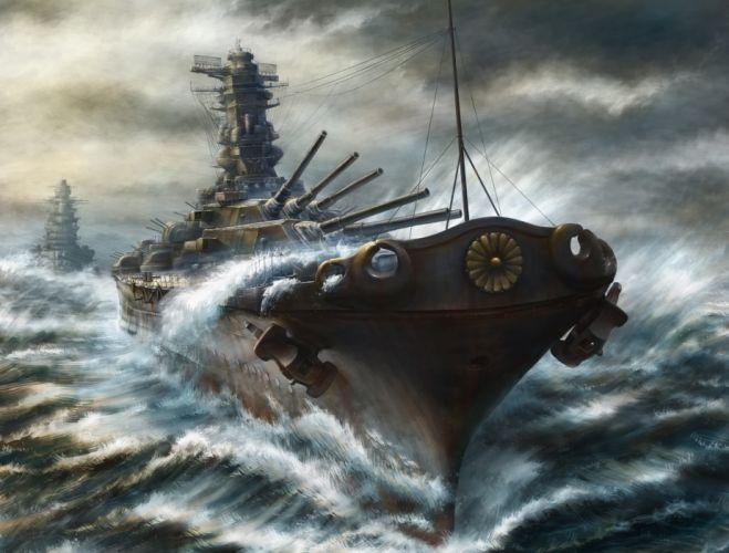 kashi takahisa ships cruiser battleship art military wallpaper