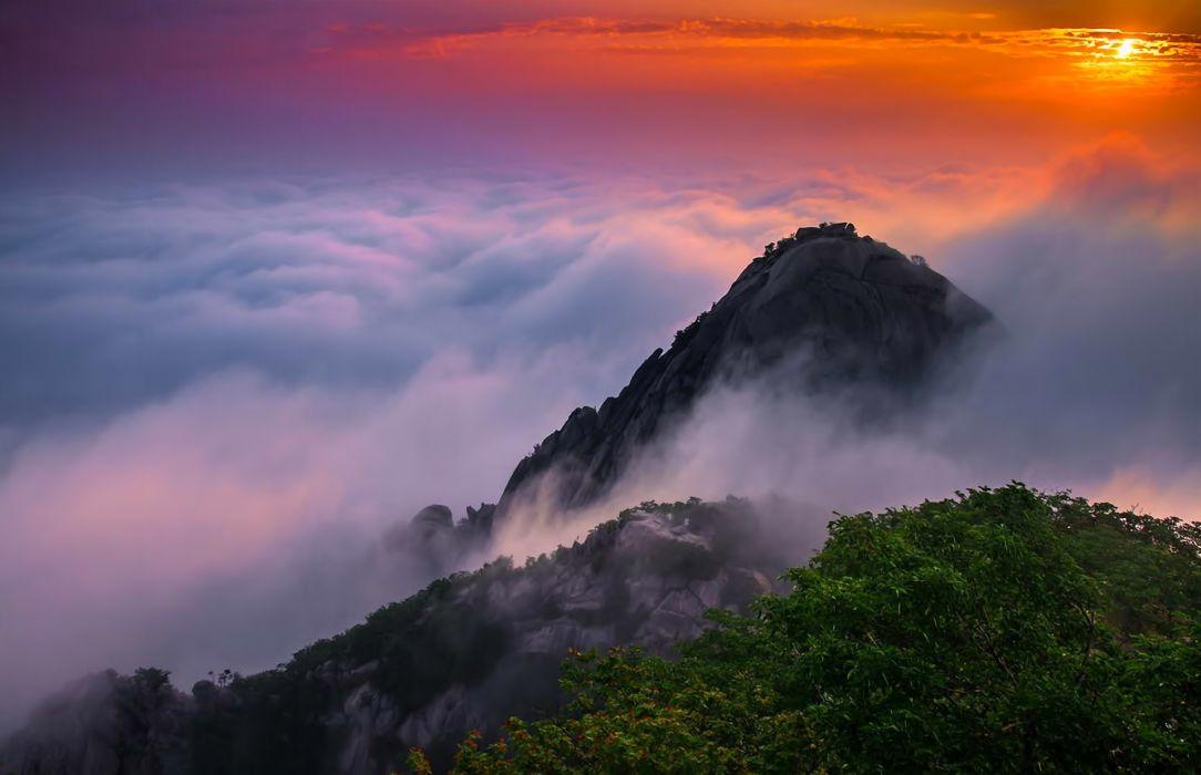 landscape mountains sunrise clouds beauty Korea wallpaper