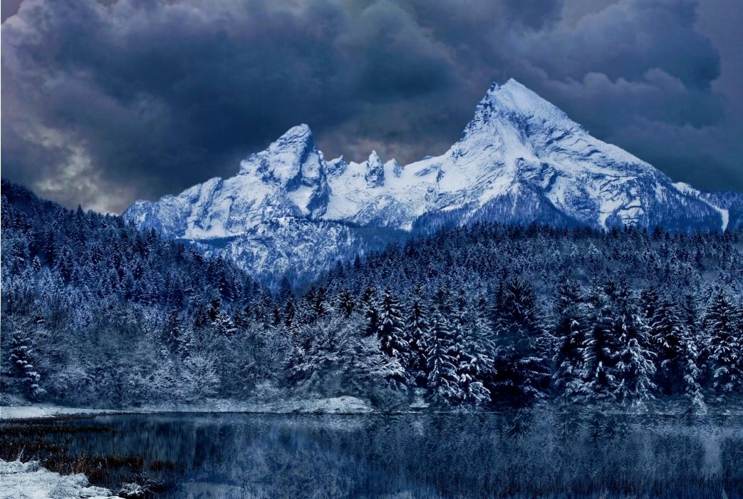 lake mountains clouds trees landscape wallpaper