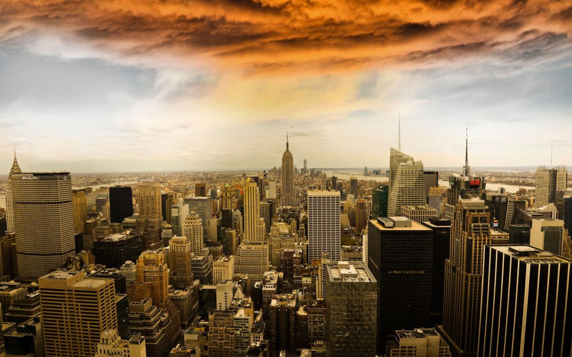 Manhattan New York buildings skyscrapers panorama wallpaper