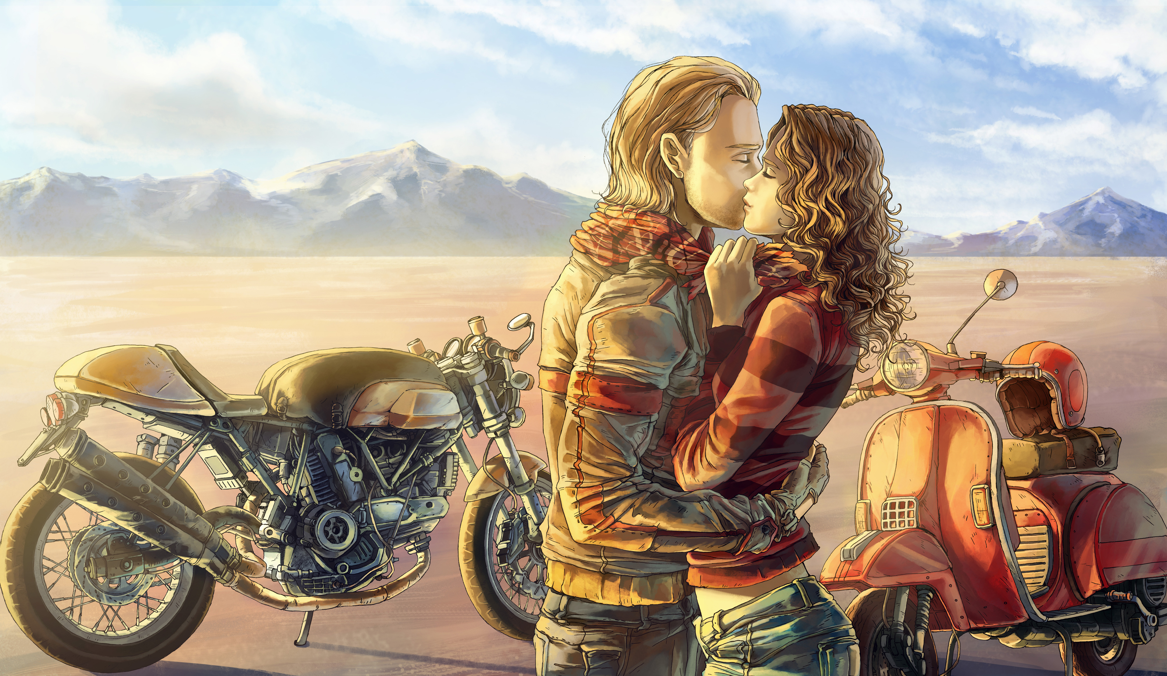 Mood Kiss Love Motorbike Bike Art Painting G Wallpaper 4000x2319