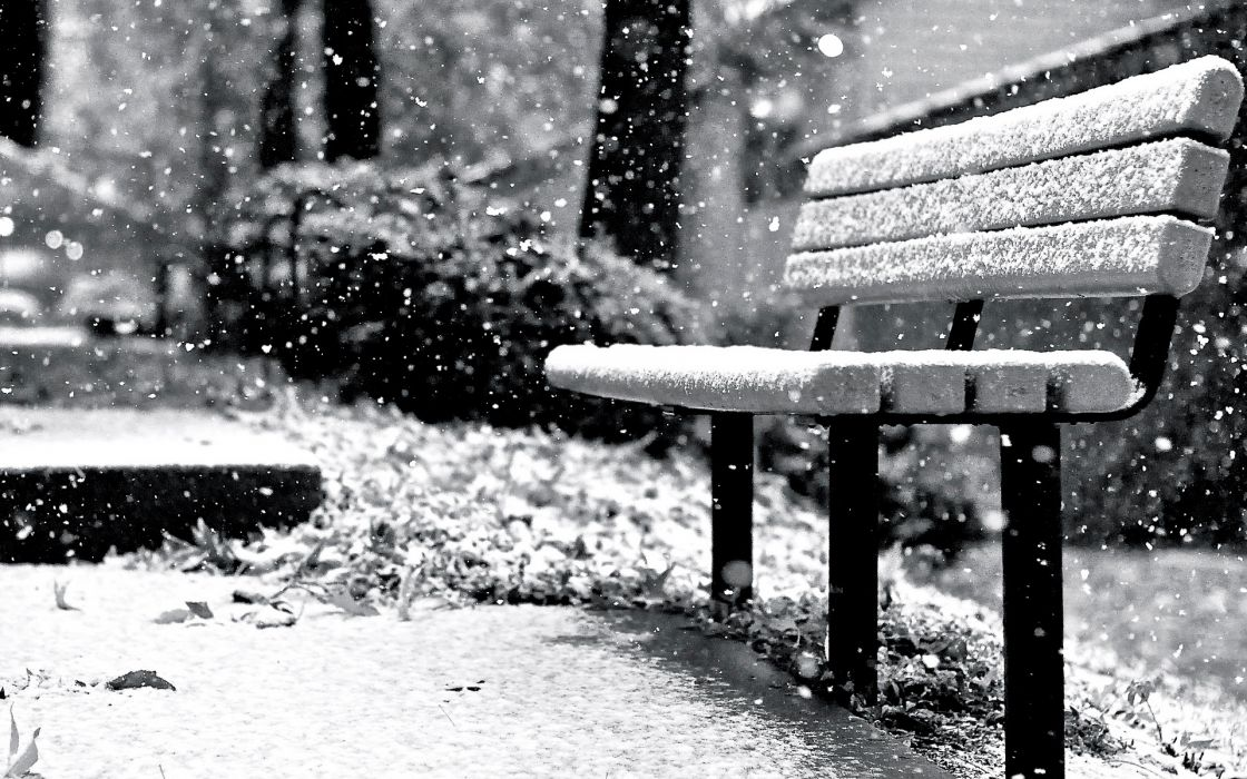 mood bench snow winter snowflakes wallpaper