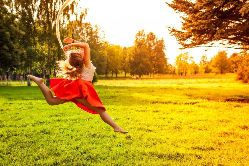 mood girl jump joy happiness positive legs skirt nature grass green sun trees tree leaves foliage_ leaves wallpaper