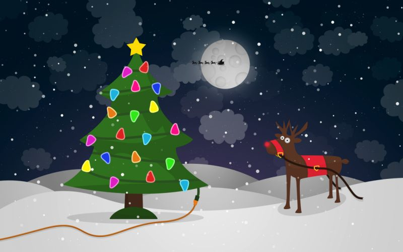 moon tree sky snow reindeer stars wallpaper