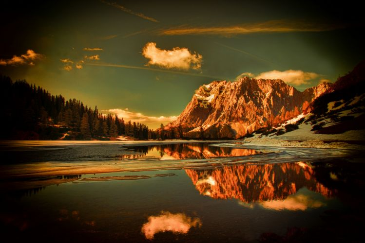 Mountains forest snow water lake reflection k wallpaper