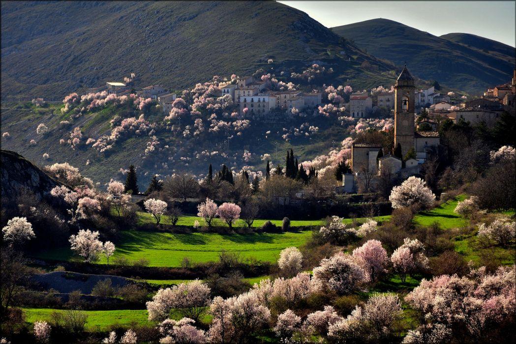 mountains italia city santo stefano di sessanio wallpaper