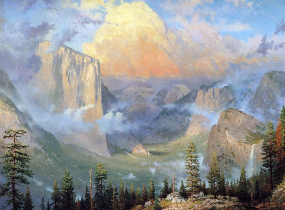 mountains yosemite valley artists point nature painting wood thomas kinkade wallpaper