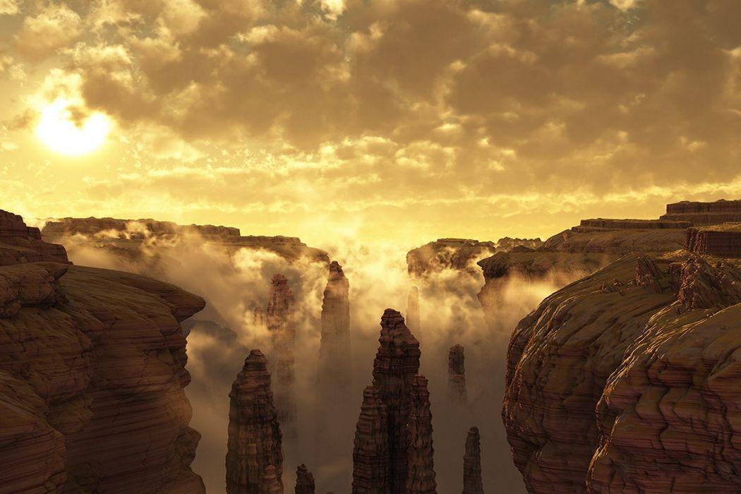 Nature mountains sky morning canyon sun pillars wallpaper