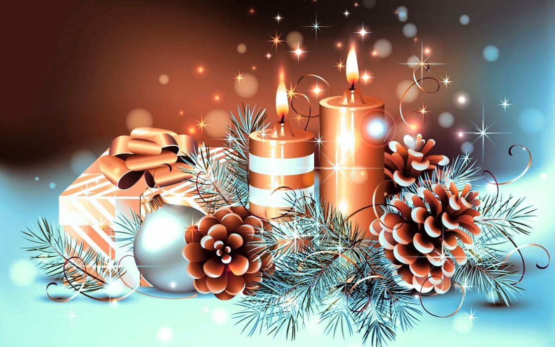 new year candles branches balls cones wallpaper