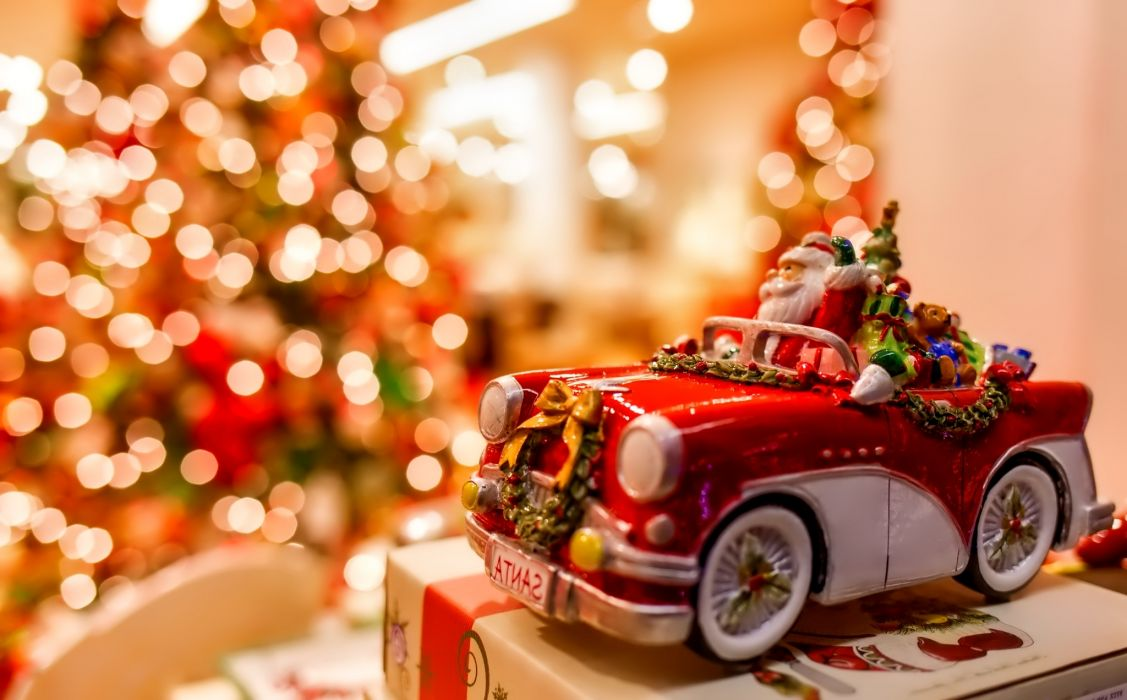 New year Christmas Santa Claus toy New Year Christmas holiday toy machine gift bokeh lights wallpaper