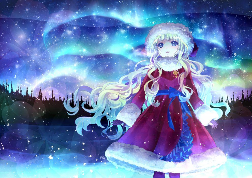 original blonde hair blue eyes hira taira original santa costume santa hat stars wallpaper