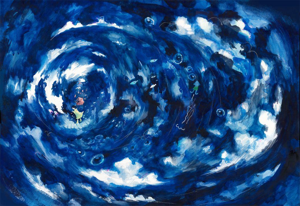 original animal blue clouds fish original umbrella wayukako wallpaper