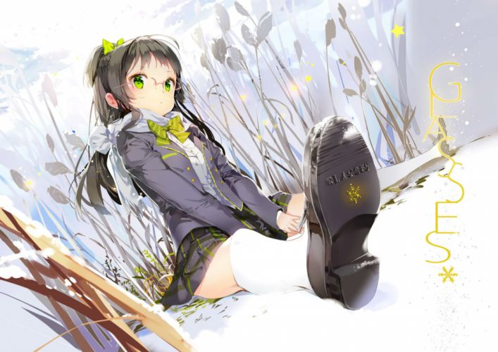 original anmi black hair bow glasses green eyes kneehighs original scarf skirt snow wallpaper