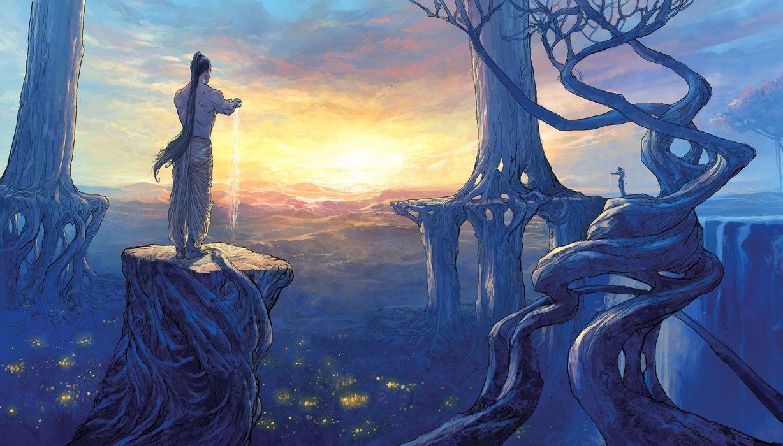 original barefoot clouds jpeg artifacts landscape long hair male nisachar original ponytail scenic sky sunset tree wallpaper