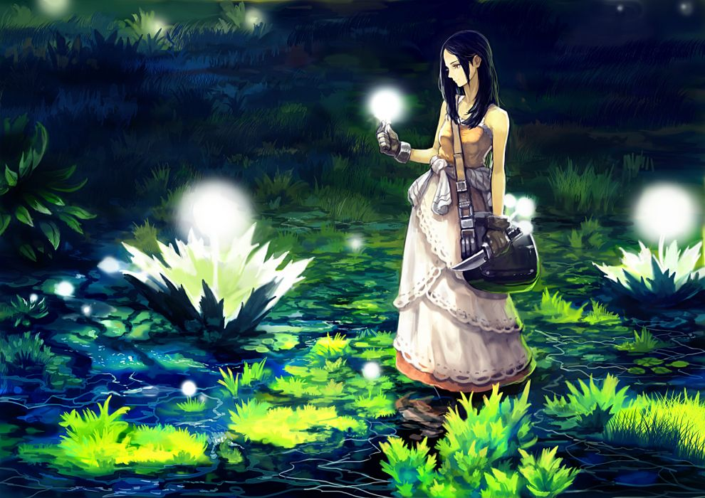 original black hair brown eyes dress gloves grass knife night okuto original water wallpaper