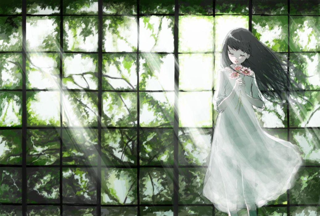 original black hair dress flowers leaves long hair lyricism3710 original tree wallpaper