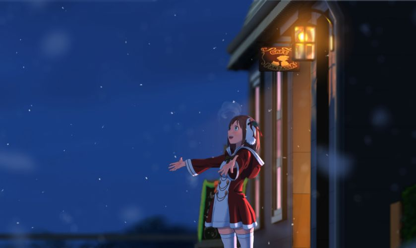 original christmas cojibou night original snow thighhighs zettai ryouiki wallpaper