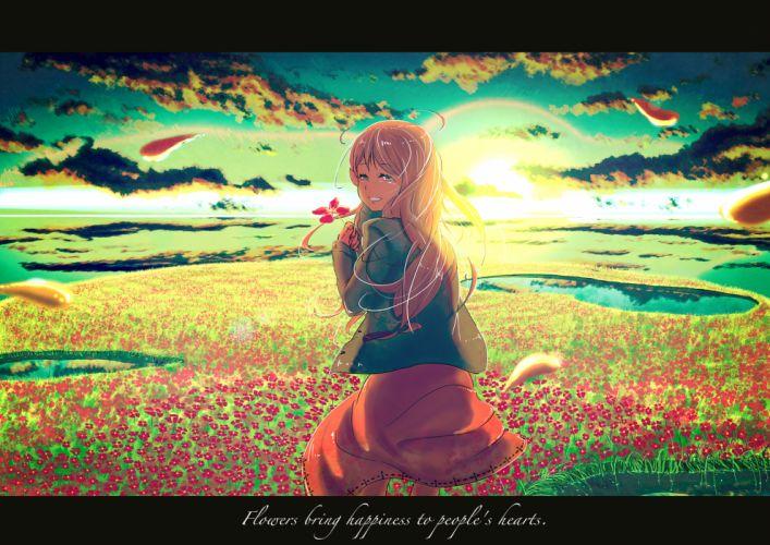 original clouds dress flowers long hair original petals samidare (okayou) scenic sky sunset water wallpaper