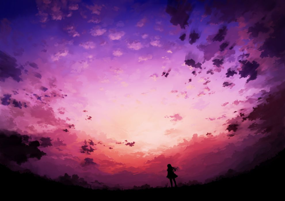 original clouds kami (yoshipt0716) original scenic silhouette sky sunset wallpaper