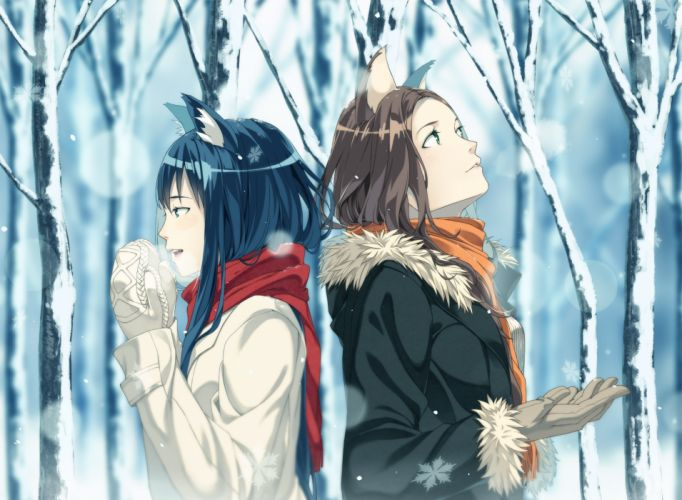 original girls animal ears blue eyes blue hair brown hair catgirl gloves green eyes kimura (ykimu) long hair original scarf snow tree winter wallpaper