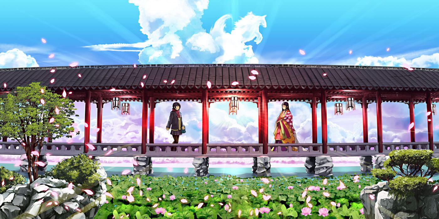 original girls black hair clouds flowers japanese clothes jpeg artifacts long hair original pantyhose petals scarf short hair skirt tree water wallpaper