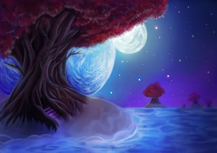 painting landscape tree leaves sky night stars the moon the planet wallpaper