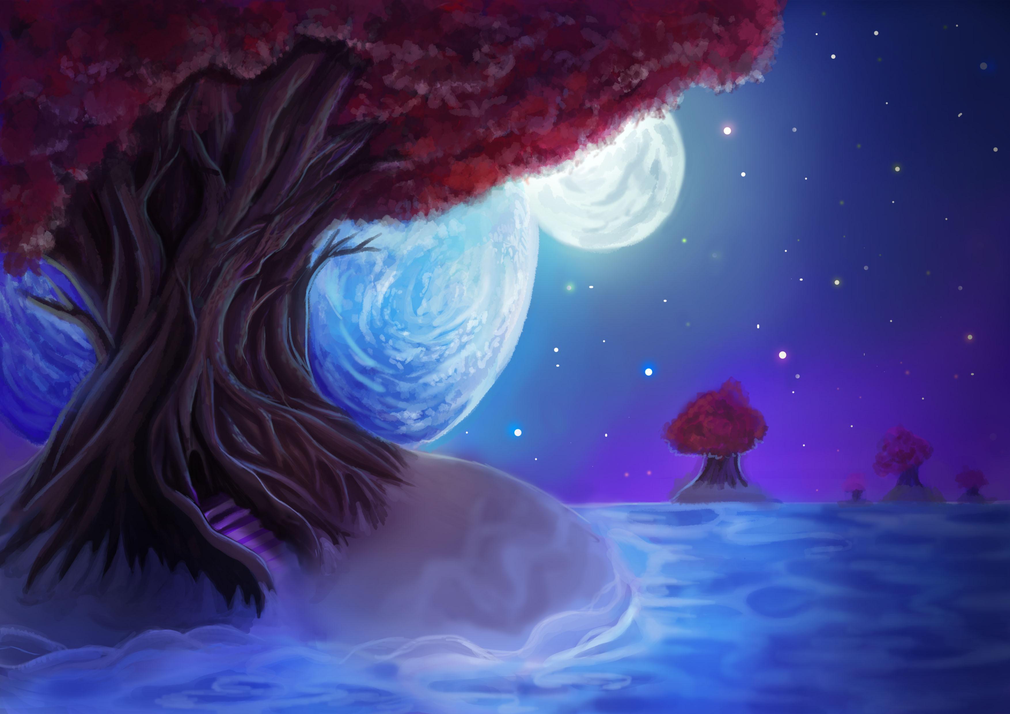 Painting landscape tree leaves sky night stars the moon ...  Painting landsc...