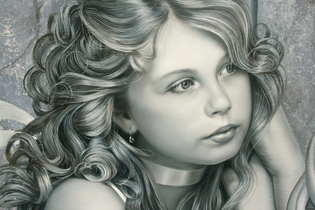 painting art baby girl face eyes eyes hair hair earrings mood wallpaper