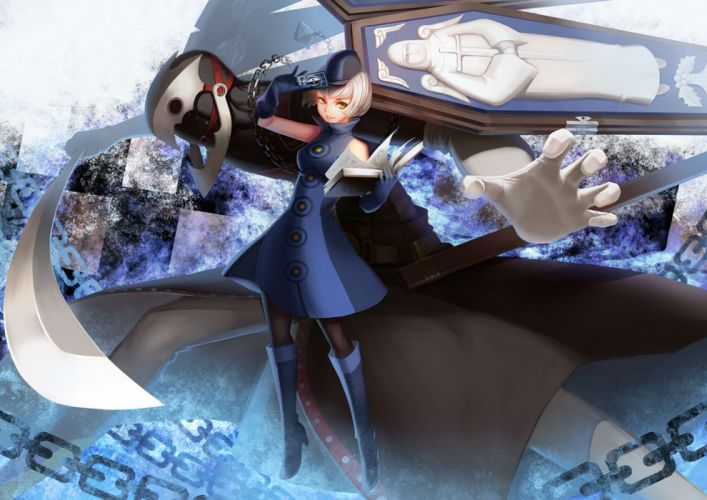 persona book boots chain dopollsogno dress elizabeth gloves hat pantyhose persona persona 3 short hair sword weapon white hair yellow eyes wallpaper