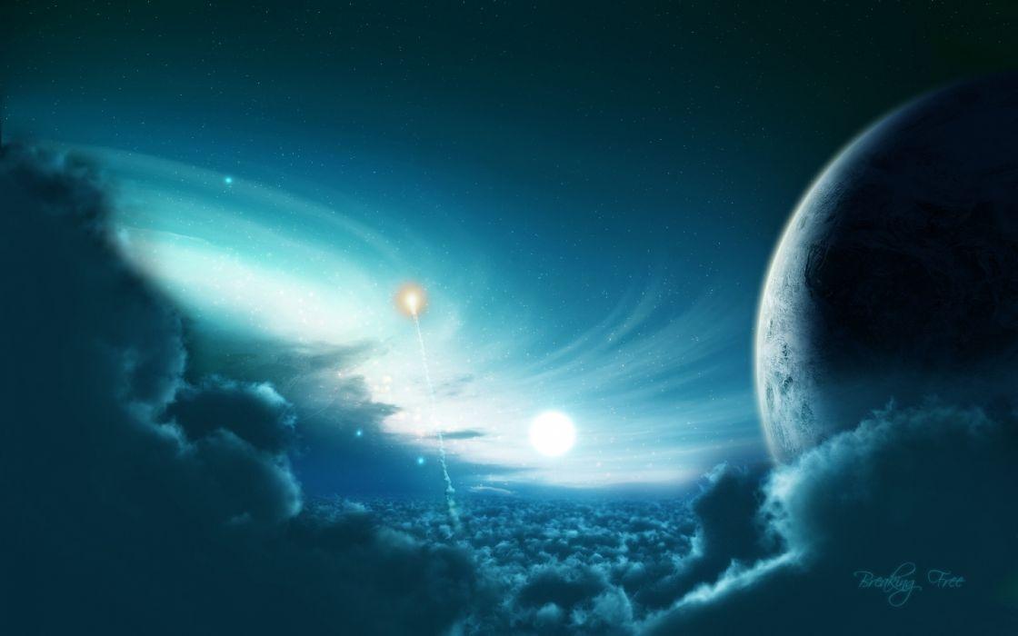 planet light blue light wallpaper