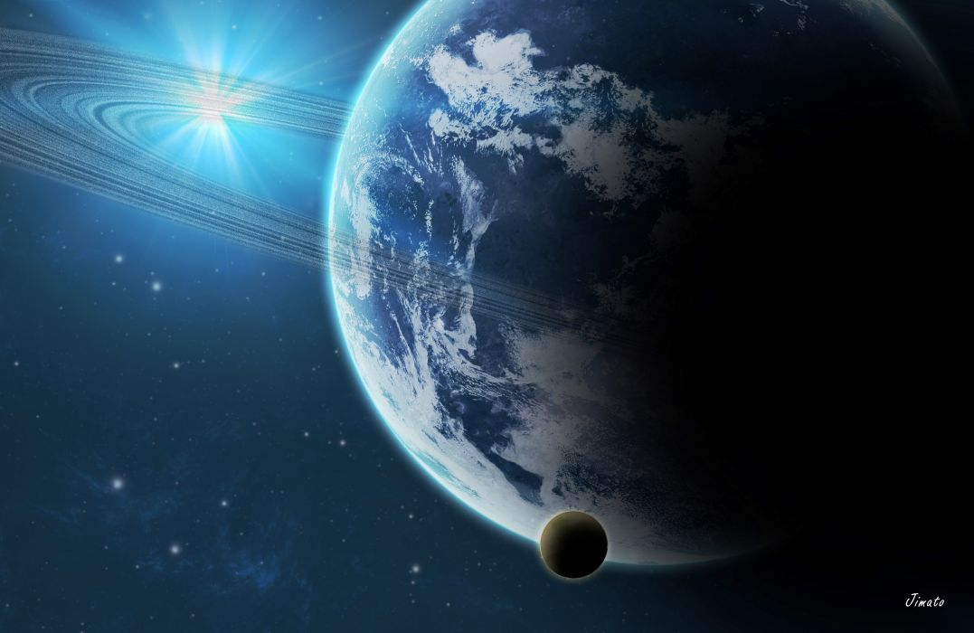 planet star ring space wallpaper
