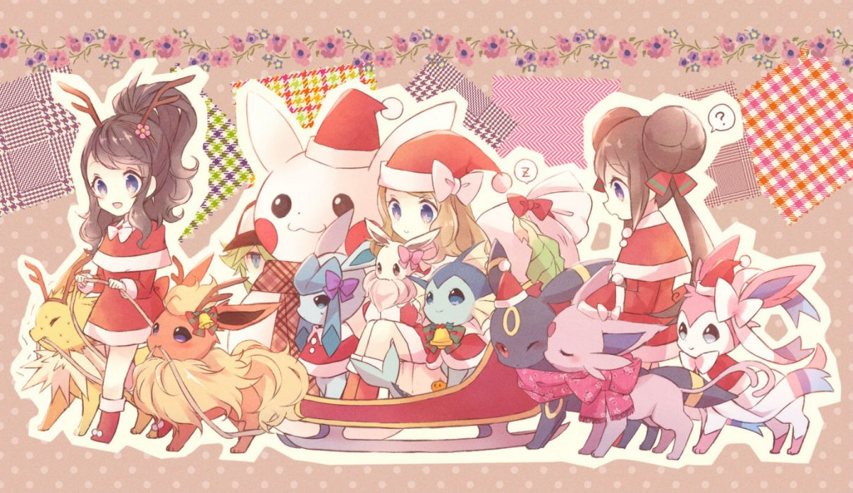 pokemon bell bow christmas eevee espeon flareon flowers glaceon hat jolteon leafeon n pikachu pokemon ponytail scarf snowman sylveon torute umbreon vaporeon wallpaper