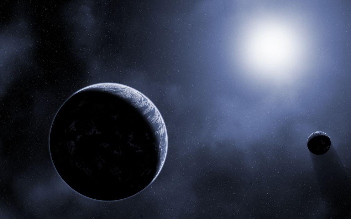 planets sun stars art wallpaper