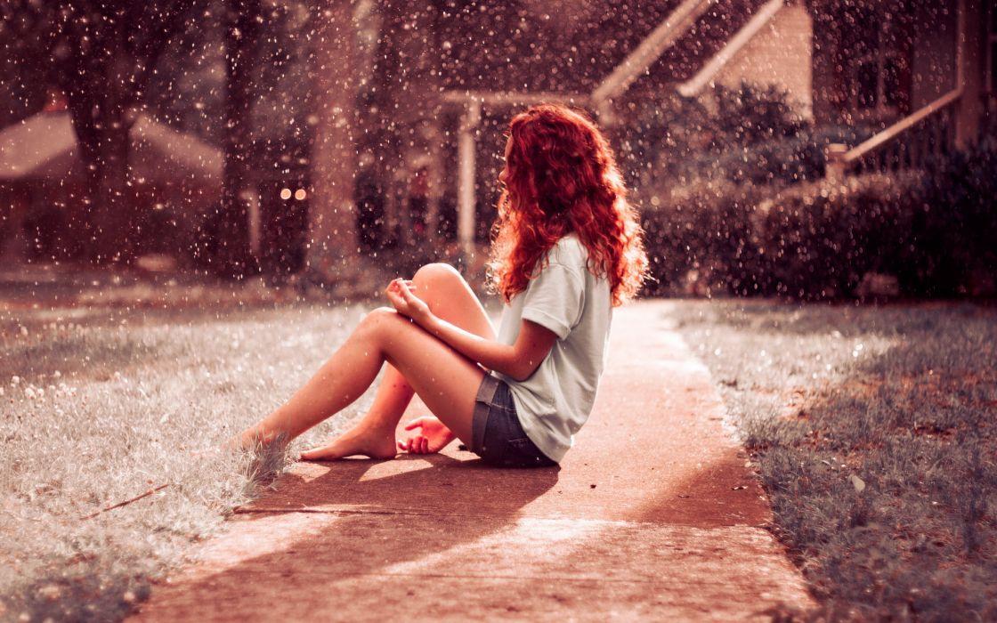 Rain girl hair redhead mood wallpaper